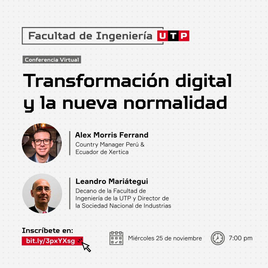"""UTP dictará conferencia sobre """"Transformación digital y la nueva normalidad"""""""